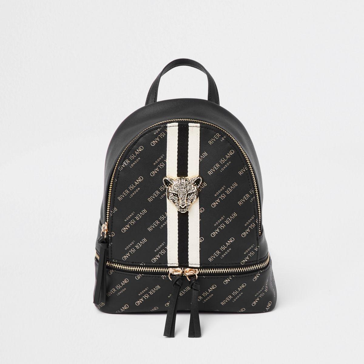 Girls black RI tiger charm backpack