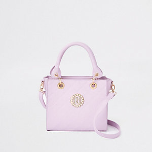 Girls purple boxy tote bag