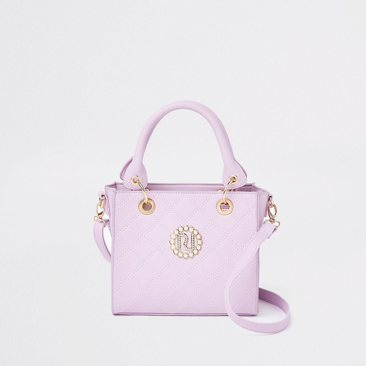 Girls purple boxy tote bag