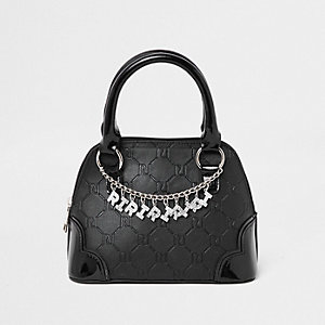 Schwarze Tote Bag mit RI-Monogramm und Kette