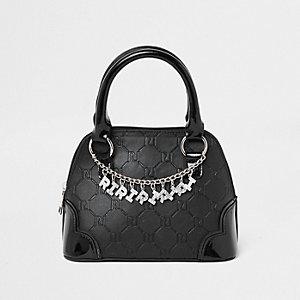 Zwarte handtas met RI-monogram en ketting voor meisjes