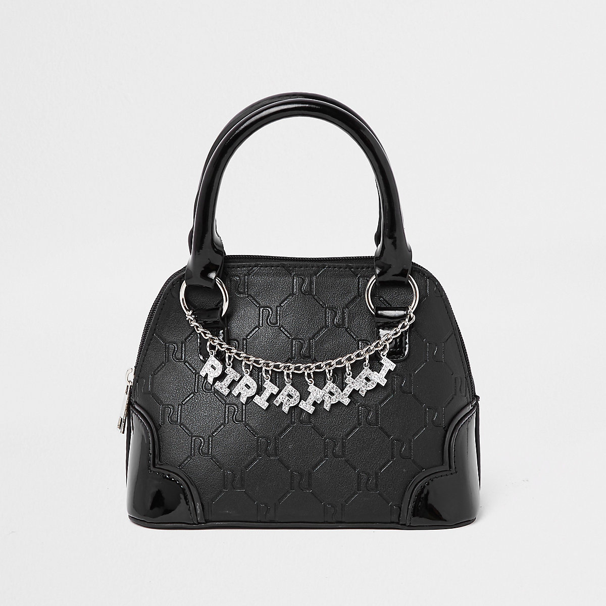 Girls black RI monogram chain tote bag