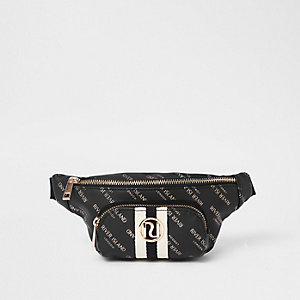 Girls black RI print contrast stripe bum bag
