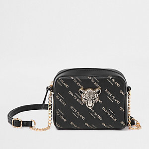 Girls black RI leopard charm cross body bag