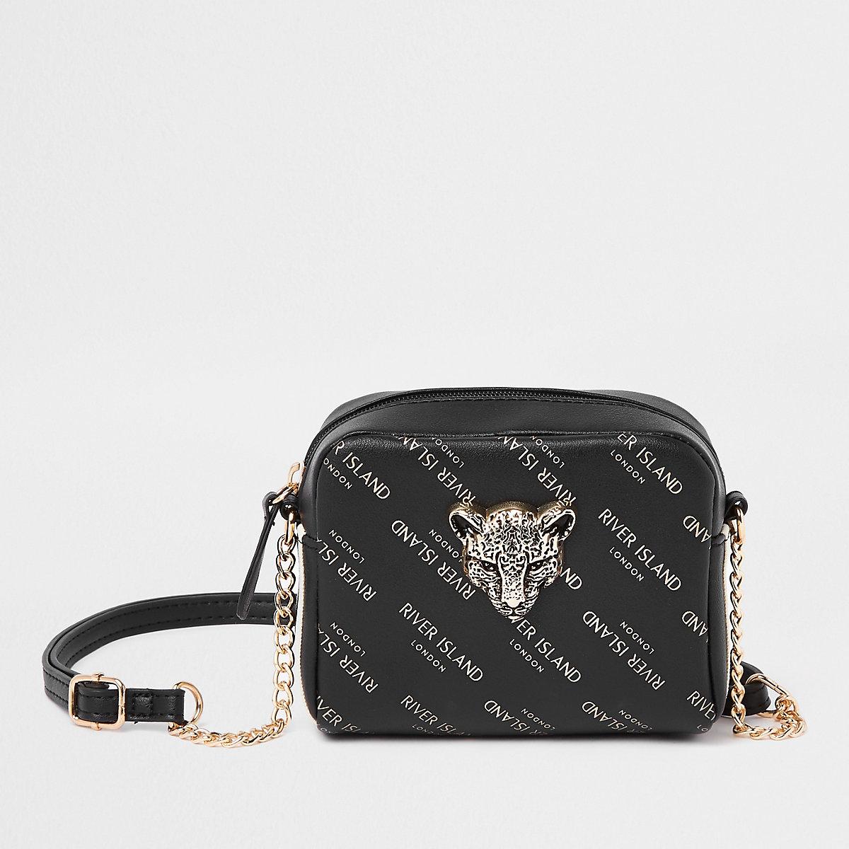 Girls black RI leopard charm cross body bag