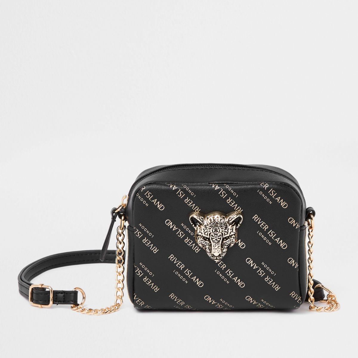 Girls black RI tiger charm cross body bag