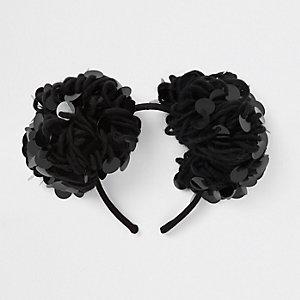 Schwarzes Haarband mit Bommel und Pailletten
