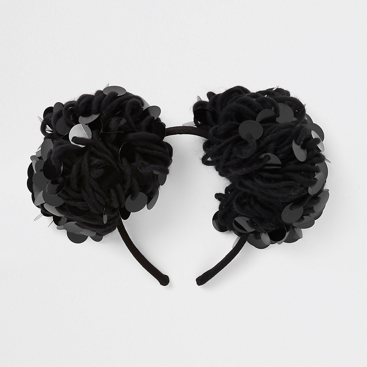Girls black sequin pom pom hair band