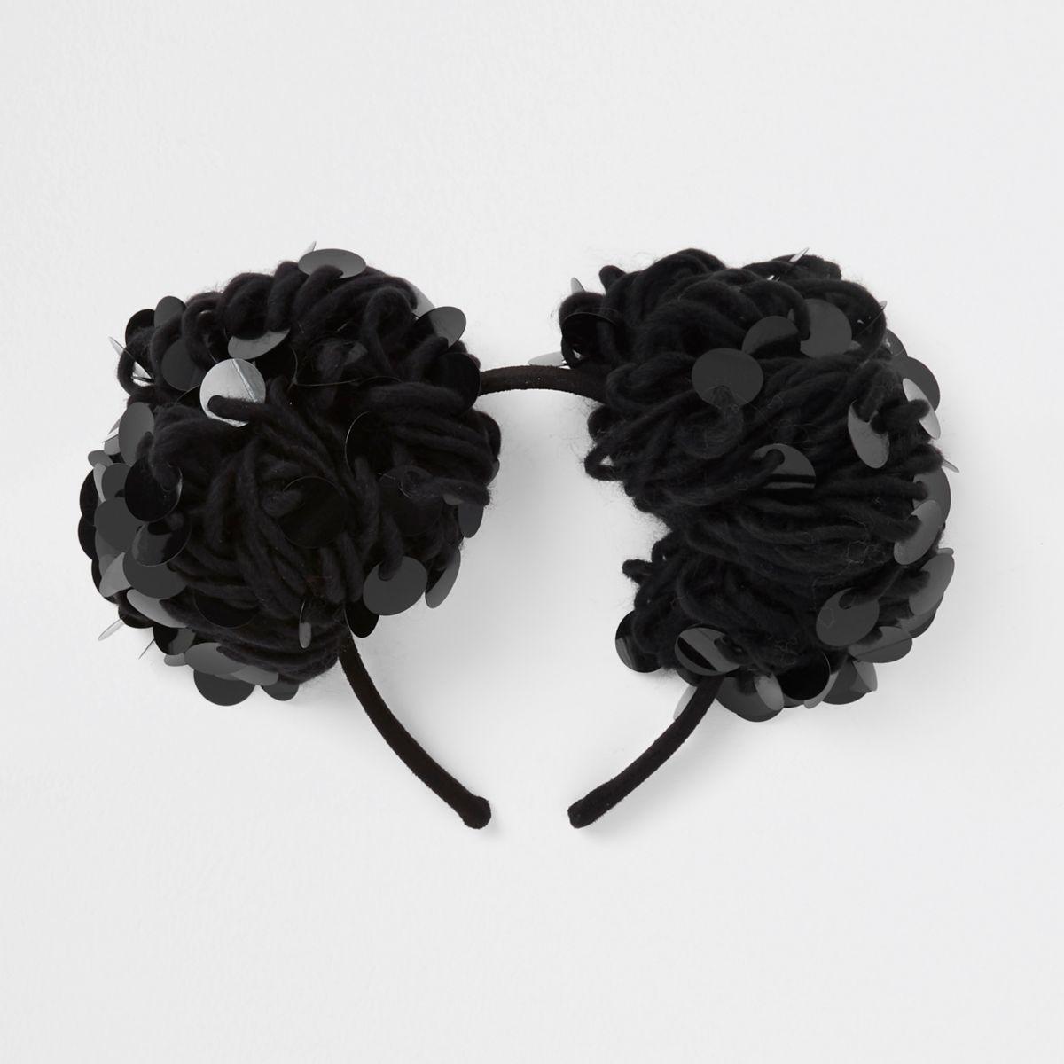 Girls black sequin pom pom hair band
