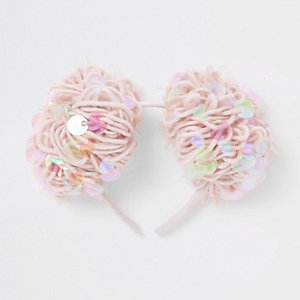 Girls pink sequin pom pom hair band
