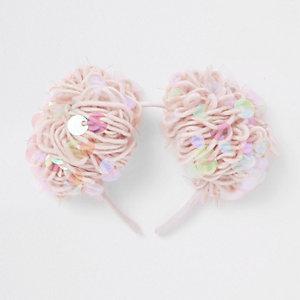 Roze haarband met lovertjes en pompon voor meisjes