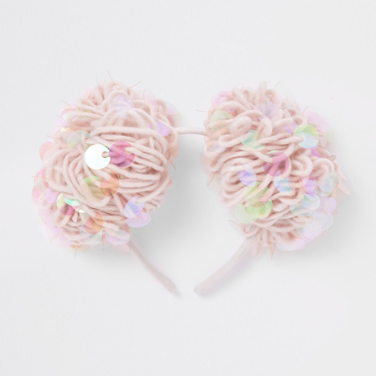 Girls pink sequin pom pom hair band