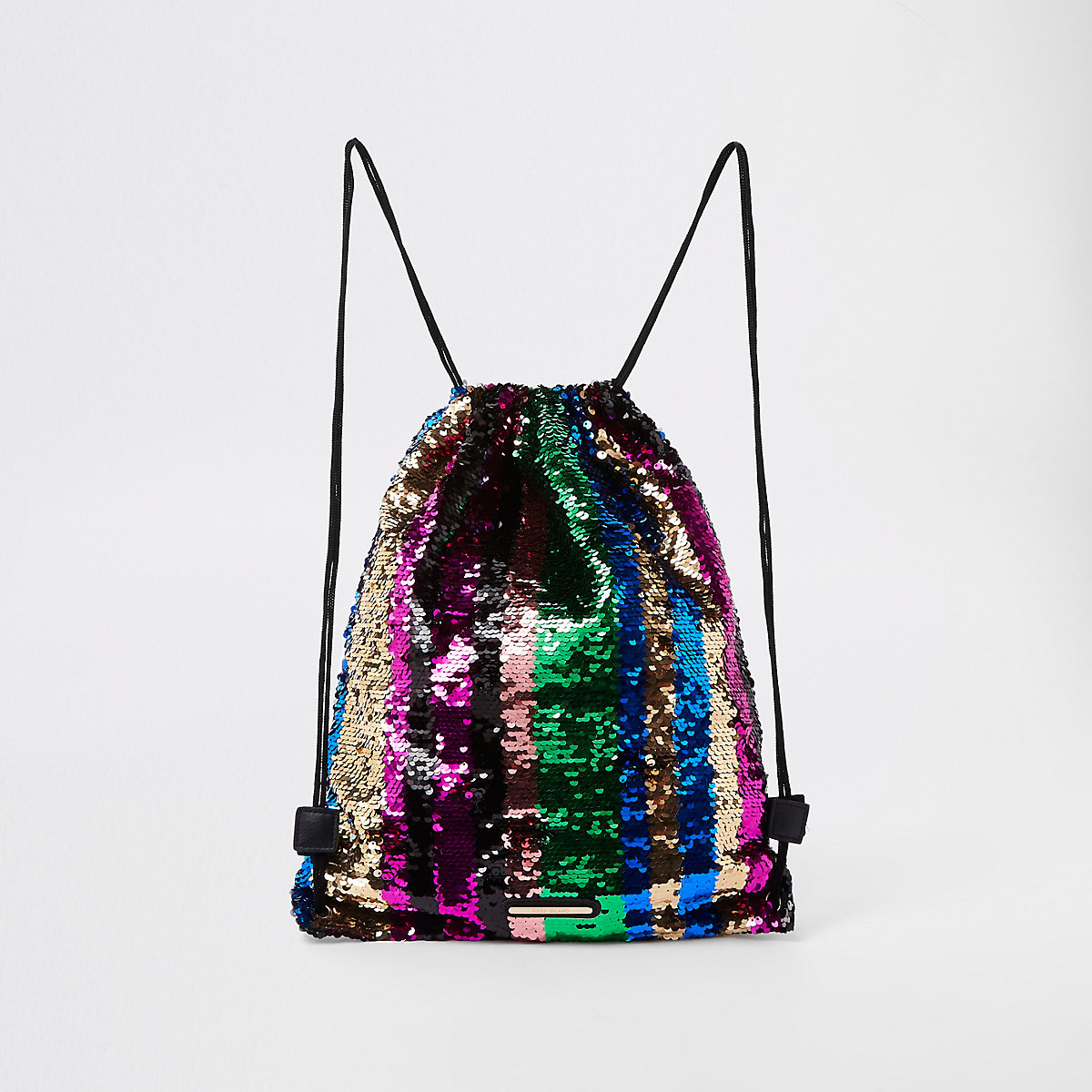 Girls rainbow sequin drawstring backpack