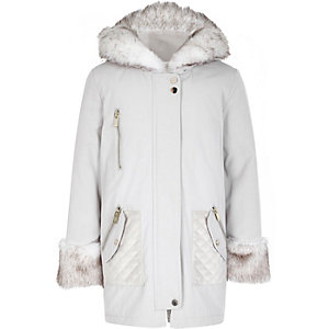 Girls cream faux fur trim parka jacket