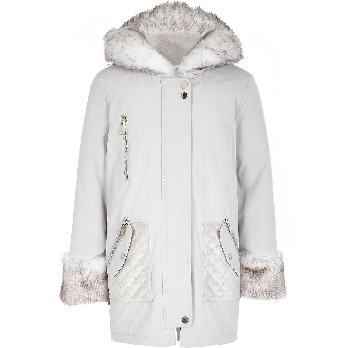 Girls cream faux fur trim parka jacket