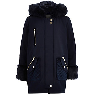 Girls navy faux fur trim parka jacket
