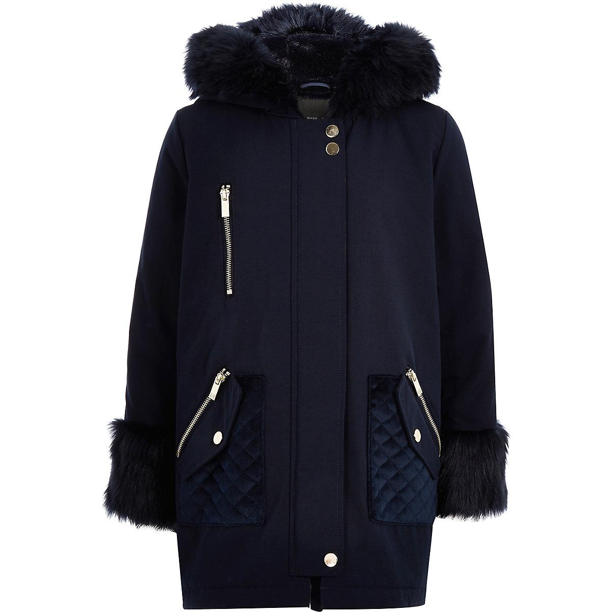 Girls navy faux fur trim parka jacket
