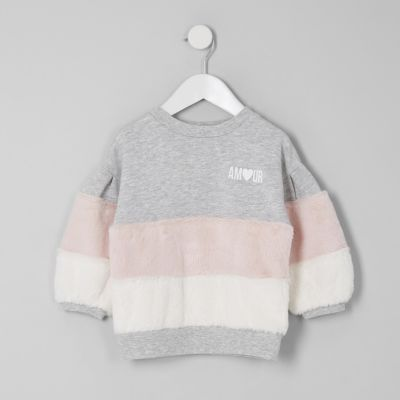 Mini Girls Grey Faux Fur Trim Sweatshirt by River Island