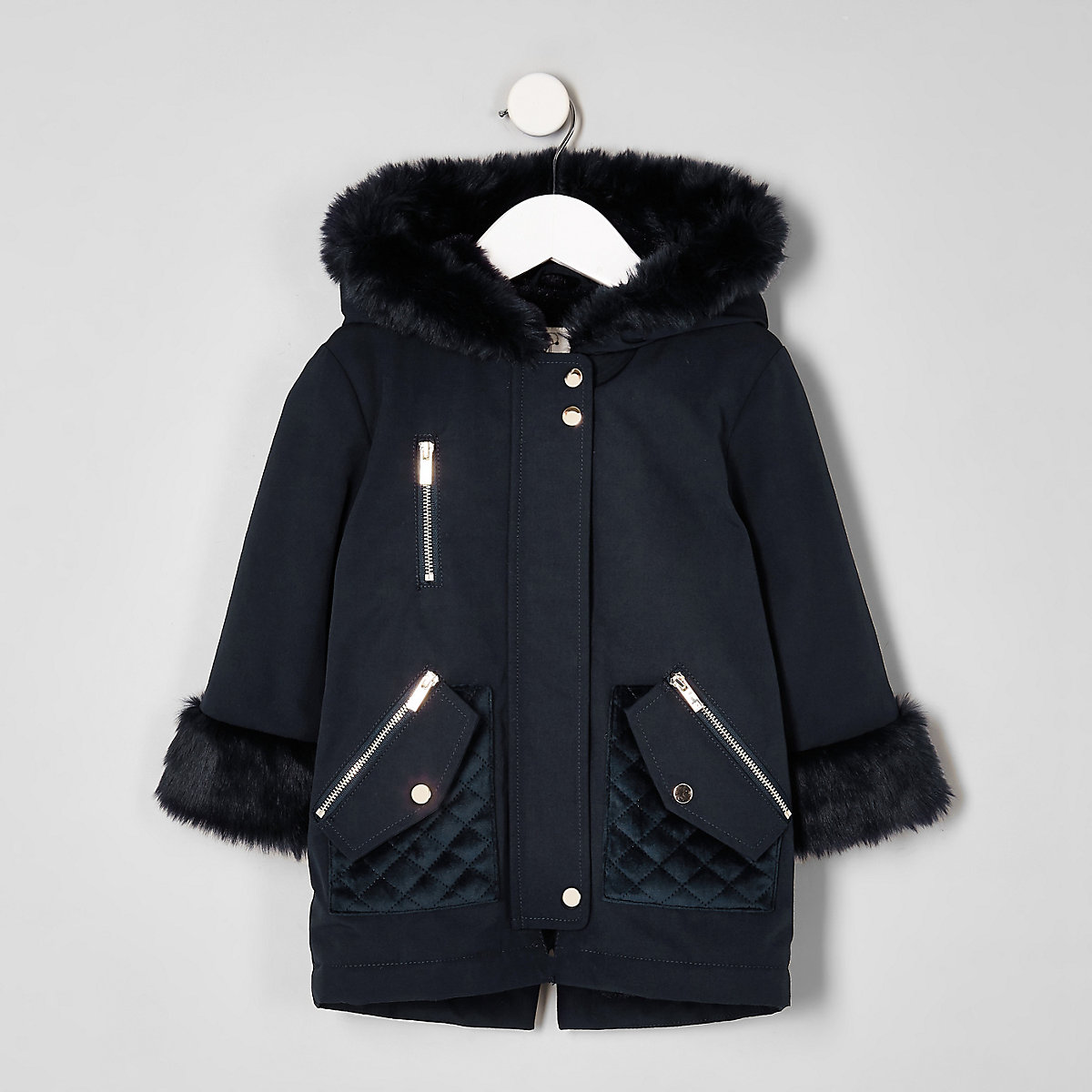 Mini girls navy faux fur trim parka jacket
