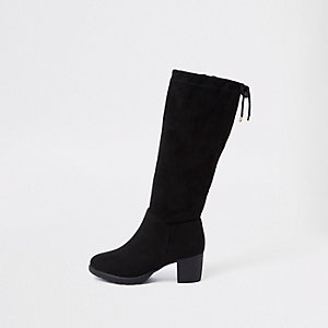 Girls black knee high chunky block heel boots