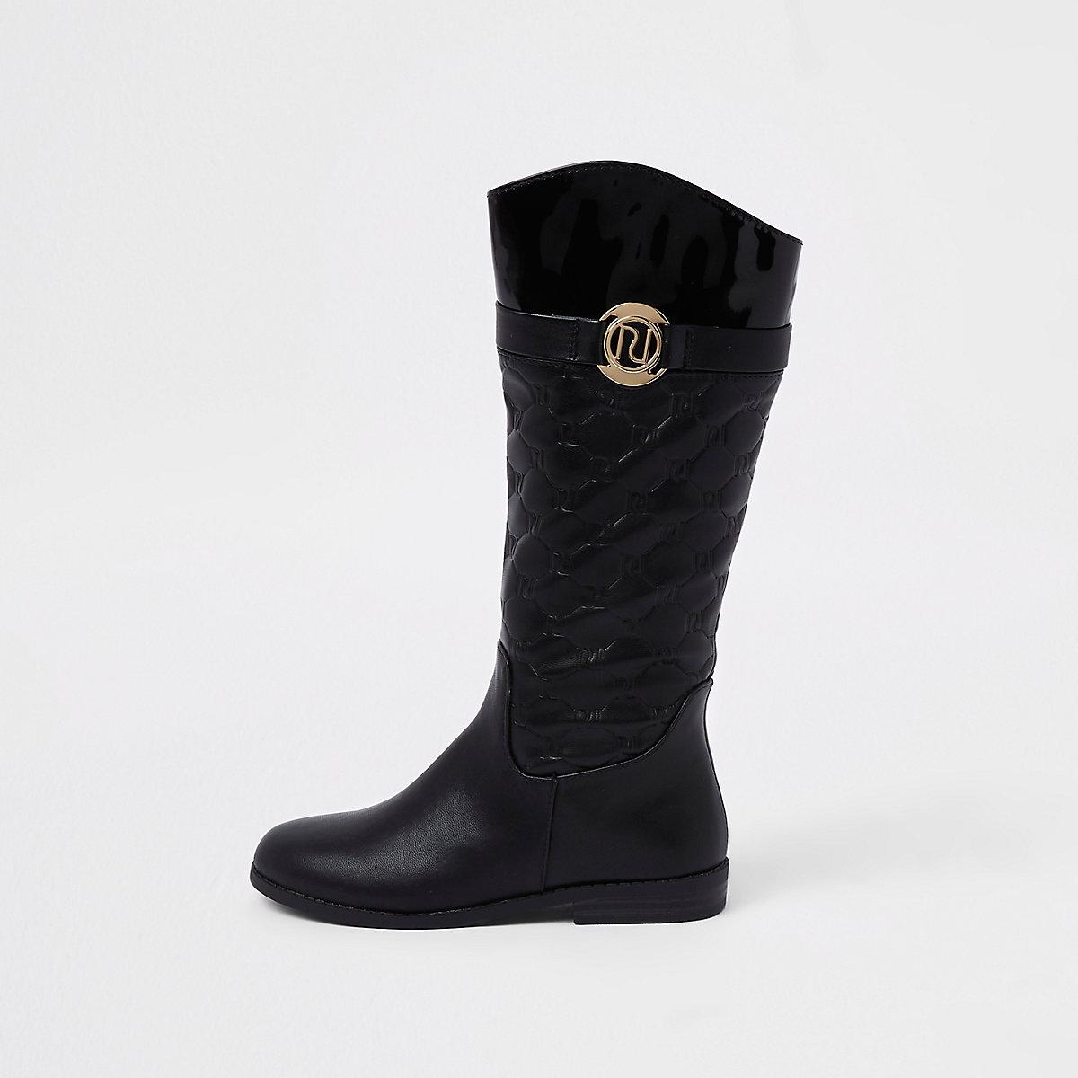 Girls black RI monogram knee high boot