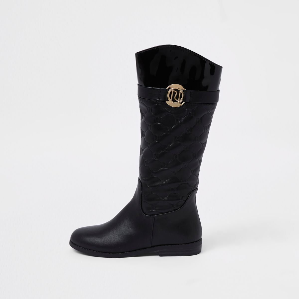 Girls black RI monogram knee high boot