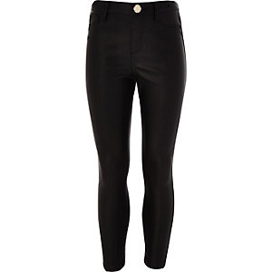 Girls black coated Amelie jeans