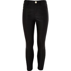 Pantalon en PU noir pour fille