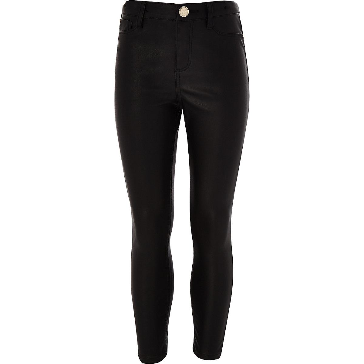 Girls black PU trouser
