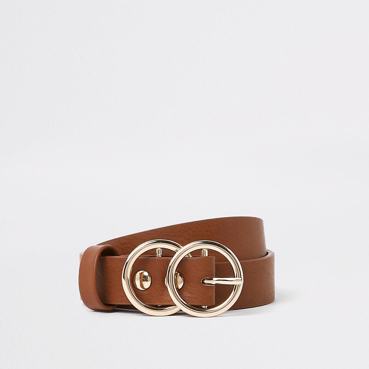 Girls brown double circle belt