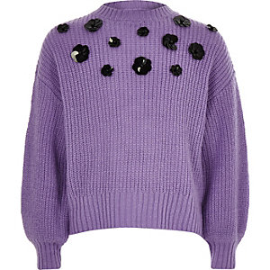 Girls purple floral sequin slouch jumper