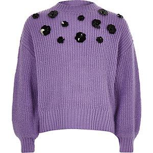 Pull large violet à fleurs et sequins pour fille