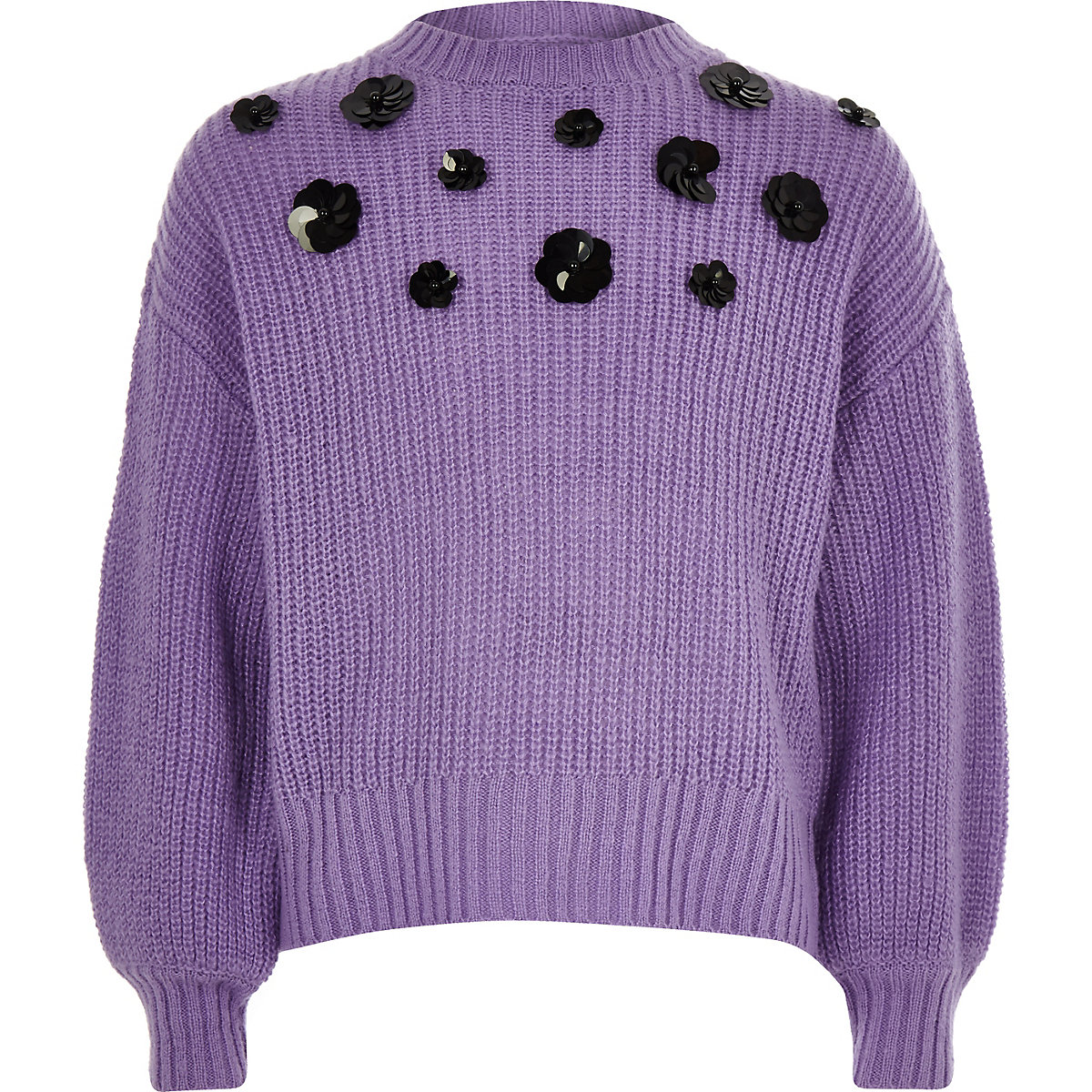 Girls purple floral sequin slouch sweater