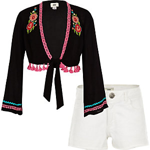 Girls black floral kimono and shorts outfit