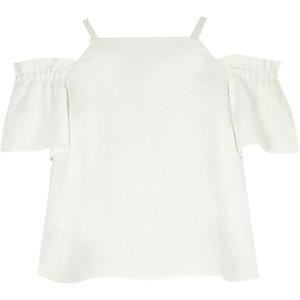 Crème schouderloze crop top voor meisjes