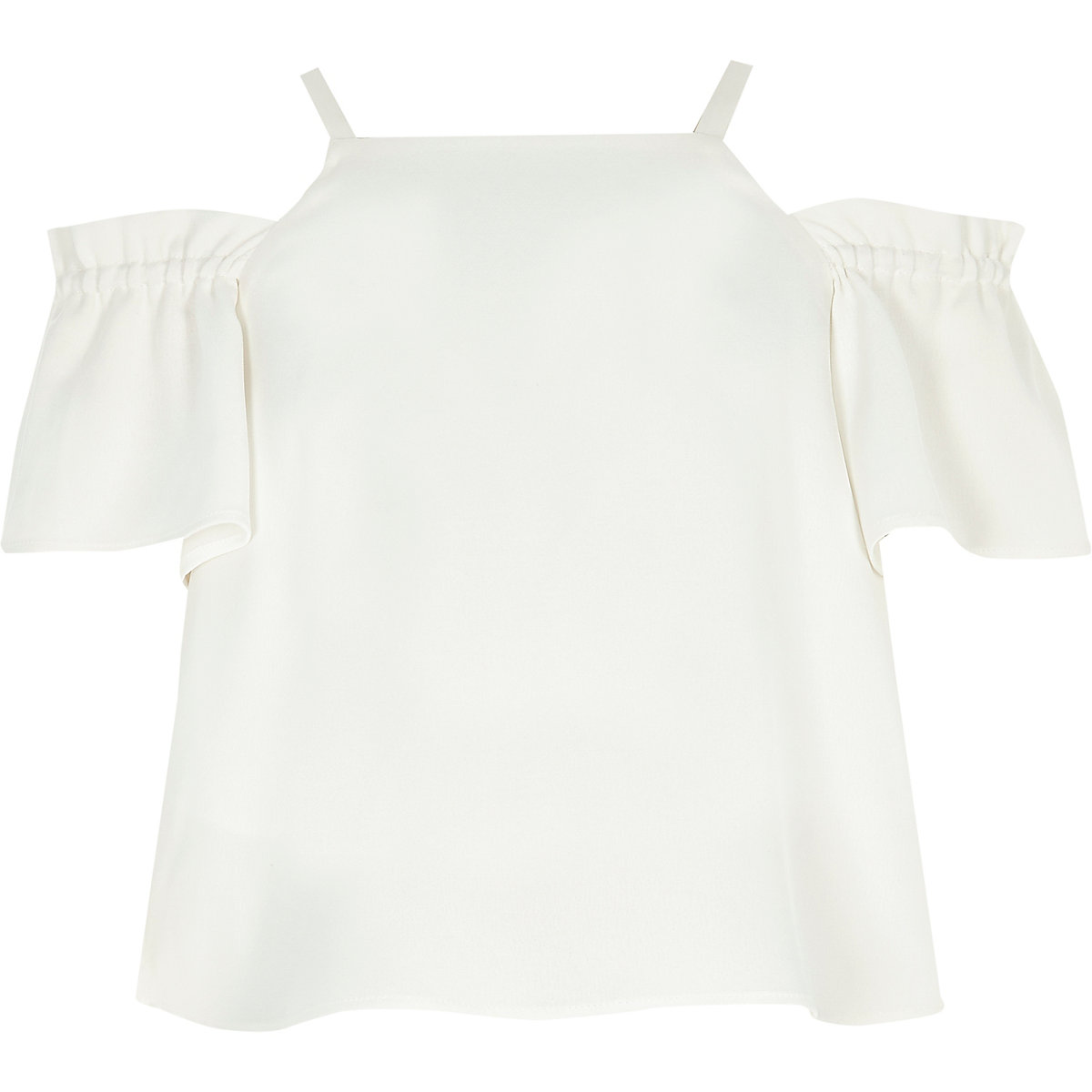 Girls cream cold shoulder crop top
