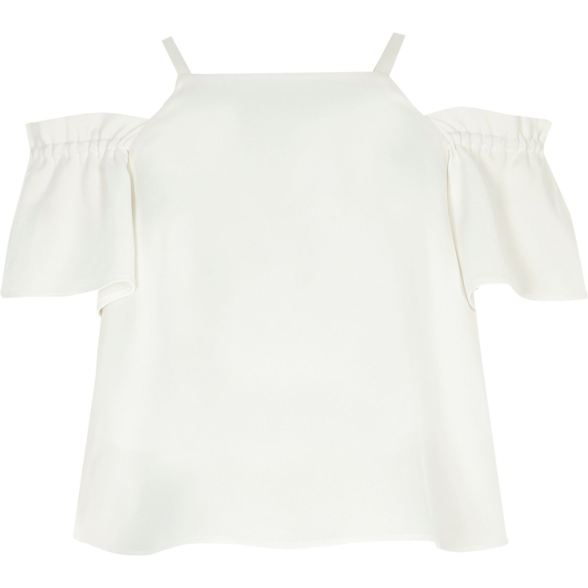 Girls cream cold shoulder crop top