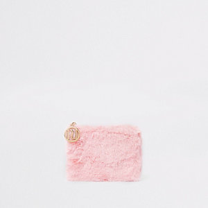 Girls pink faux fur coin purse