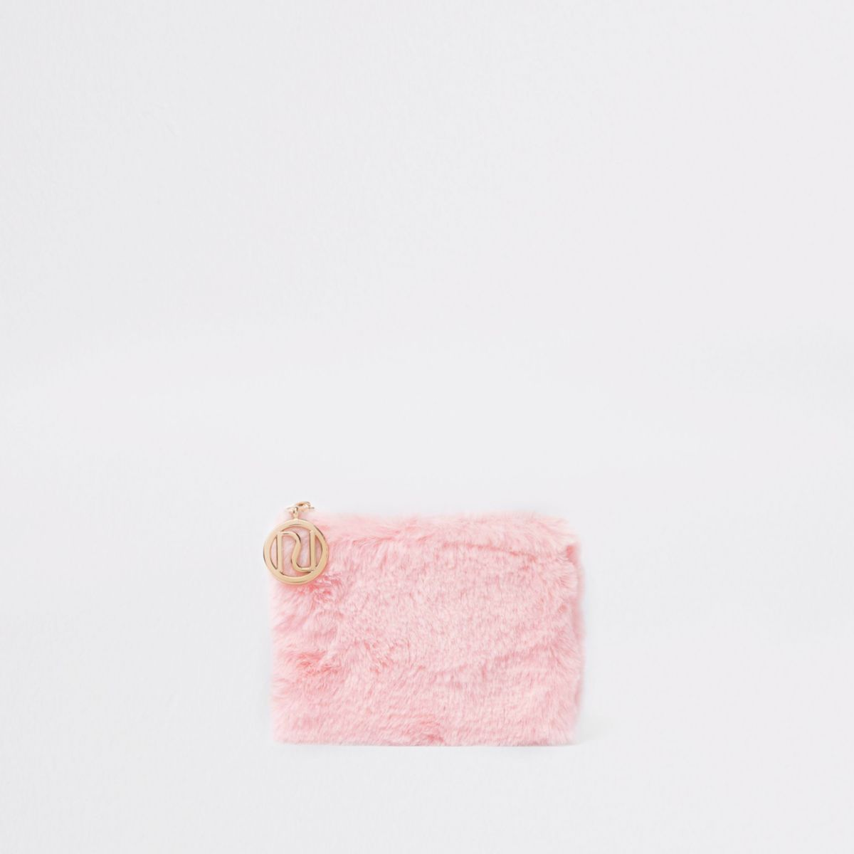 Girls pink faux fur coin purse