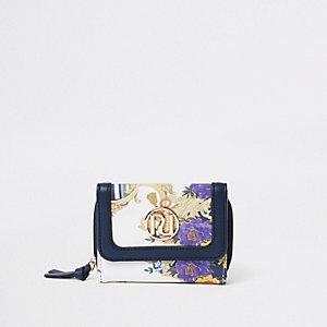 Girls navy RI baroque print trifold purse
