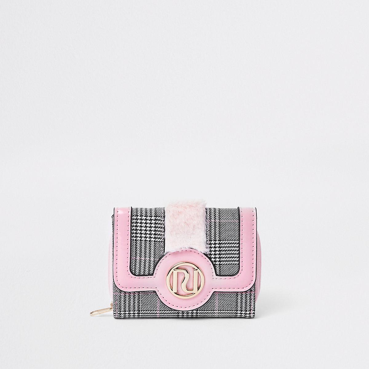 Girls pink check faux fur trim trifold purse