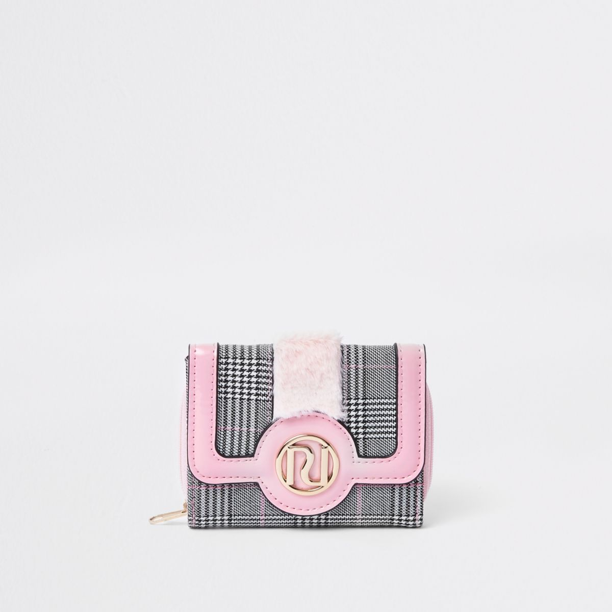 Girls pink check print fur trim trifold purse