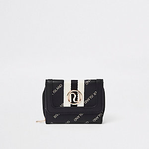 Girls black RI print trifold purse