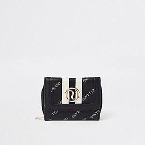 Porte-monnaie à trois volets imprimé RI noir pour fille