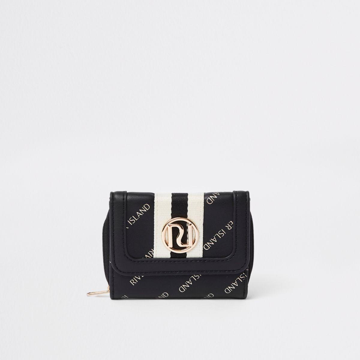 Girls black RI print trifold purse