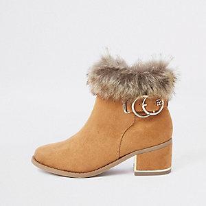 Bruine laarzen met imitatiebont voor meisjes