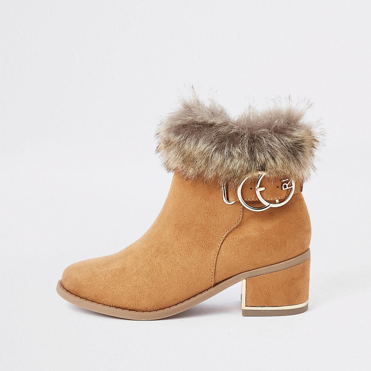 Girls tan faux fur cuff boots