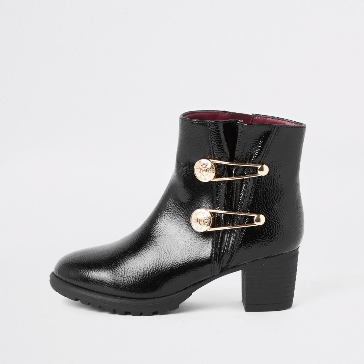 Girls patent military pin pointed boots