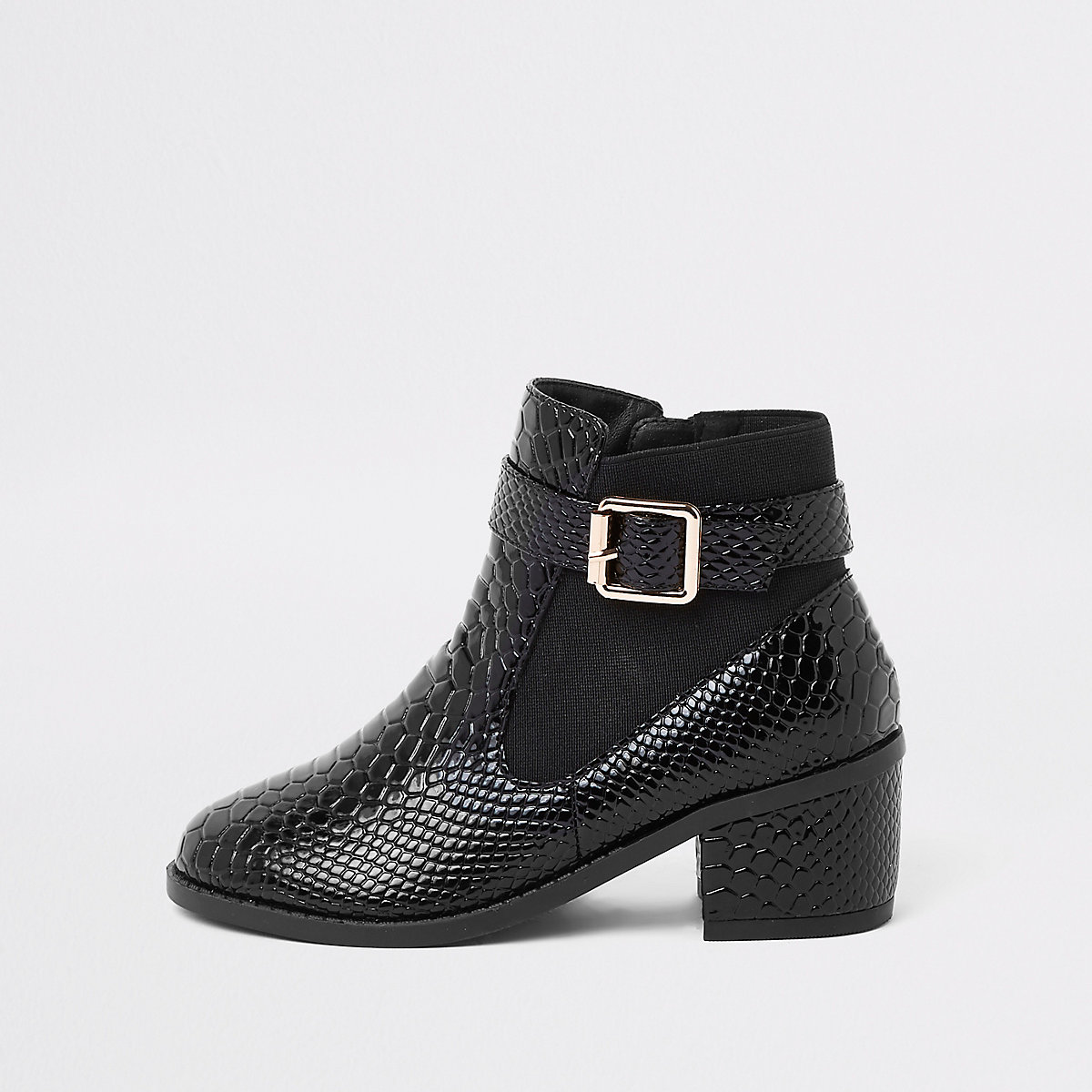 Girls black patent croc side buckle boots
