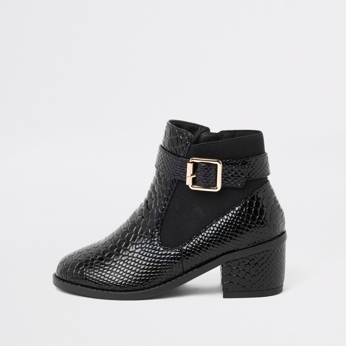 Girls black patent croc side buckle boots